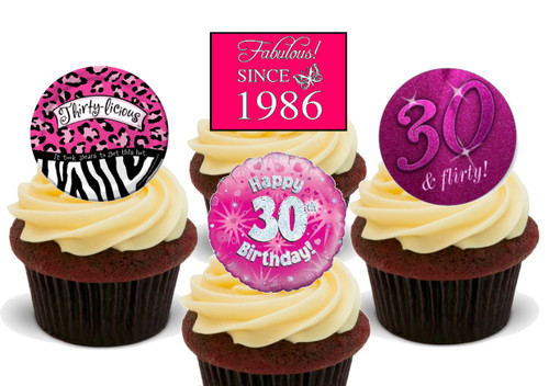 30th birthday since 1986 female mix-  12 Edible Stand Up Premium Wafer Card Cake Toppers Decorations