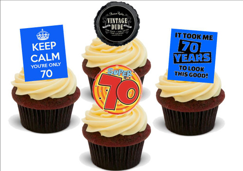 70th birthday male funny mix -  12 Edible Stand Up Premium Wafer Card Cake Toppers Decorations