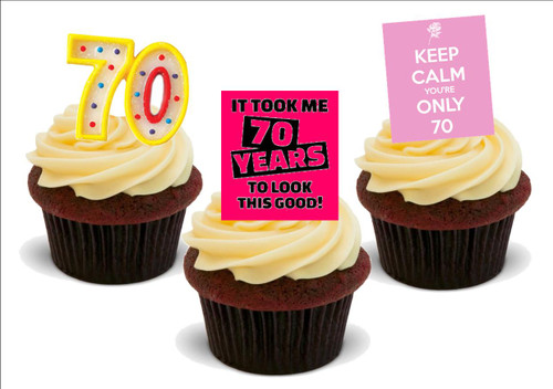 70th birthday pink funny mix -  12 Edible Stand Up Premium Wafer Card Cake Toppers Decorations