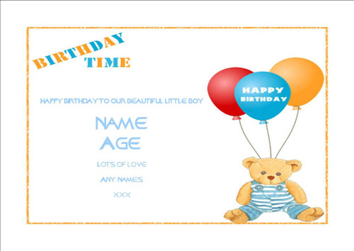 Happy birthday boy with teddy balloons-  12 Edible Stand Up Premium Wafer Card Cake Toppers Decorations