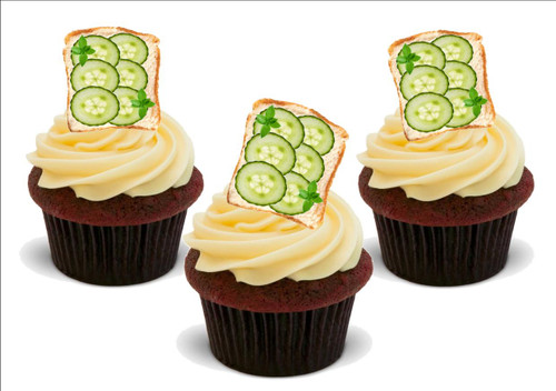 Cucumber sandwich -  12 Edible Stand Up Premium Wafer Card Cake Toppers Decorations