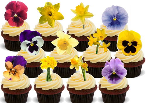 Daffodil Pansies Party Pack Mix -  12 Edible Stand Up Premium Wafer Card Cake Toppers Decorations
