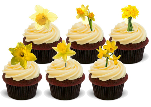 Daffodil Party Pack Mix -  12 Edible Stand Up Premium Wafer Card Cake Toppers Decorations