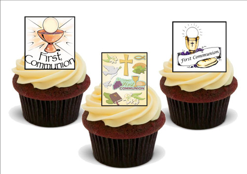 1st holy communion mix -  12 Edible Stand Up Premium Wafer Card Cake Toppers Decorations