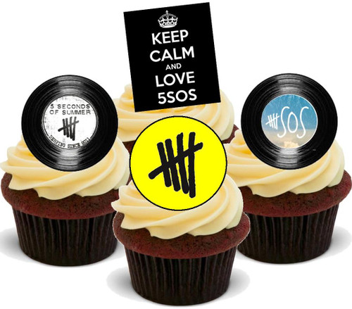 5SOS Mix -  12 Edible Stand Up Premium Wafer Card Cake Toppers Decorations