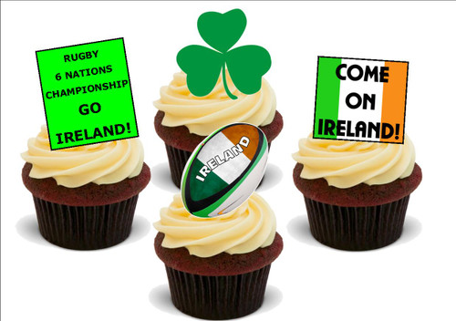 6 NATIONS Ireland Mix -  12 Edible Stand Up Premium Wafer Card Cake Toppers Decorations