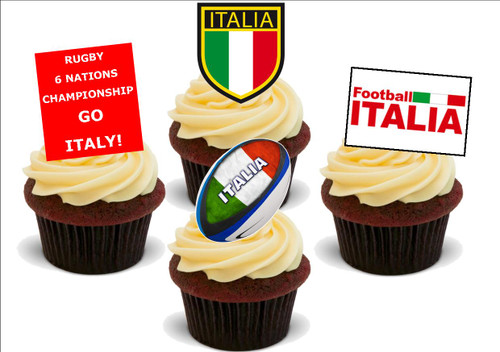 6 NATIONS Italy Mix -  12 Edible Stand Up Premium Wafer Card Cake Toppers Decorations