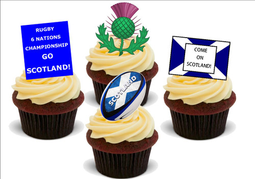 6 NATIONS Scotland Mix -  12 Edible Stand Up Premium Wafer Card Cake Toppers Decorations