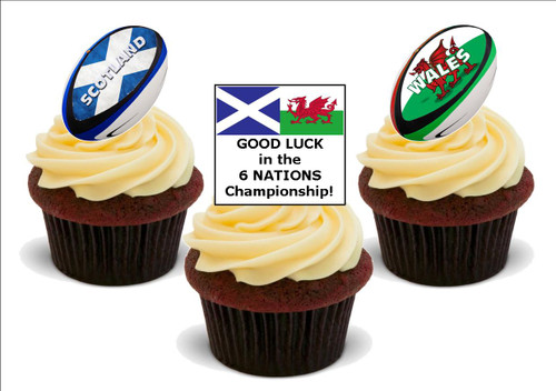 6 Nations Scotland Wales -  12 Edible Stand Up Premium Wafer Card Cake Toppers Decorations