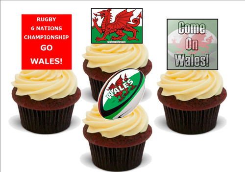 6 NATIONS Wales Mix -  12 Edible Stand Up Premium Wafer Card Cake Toppers Decorations