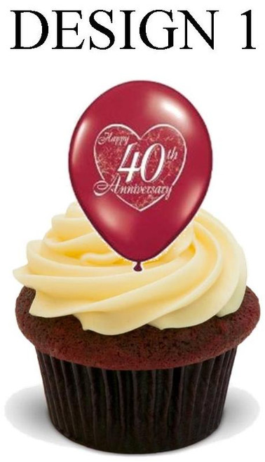40th anniversary Design 1 -  12 Edible Stand Up Premium Wafer Card Cake Toppers Decorations