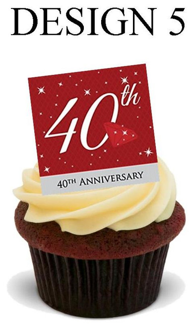 40th anniversary Design 5-  12 Edible Stand Up Premium Wafer Card Cake Toppers Decorations