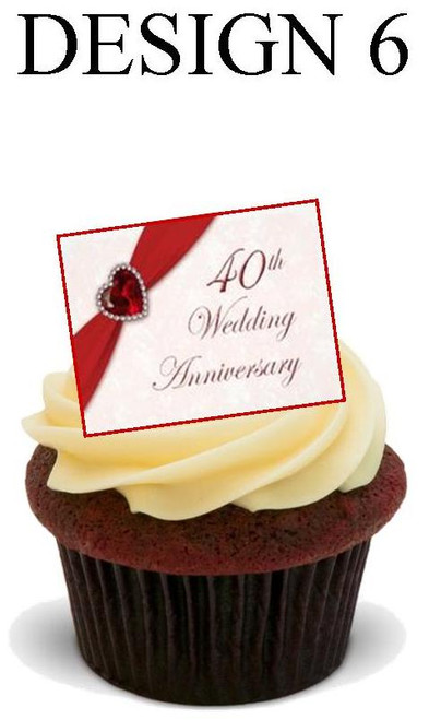40th anniversary Design 6 -  12 Edible Stand Up Premium Wafer Card Cake Toppers Decorations