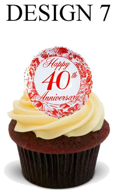 40th anniversary Design 7 -  12 Edible Stand Up Premium Wafer Card Cake Toppers Decorations