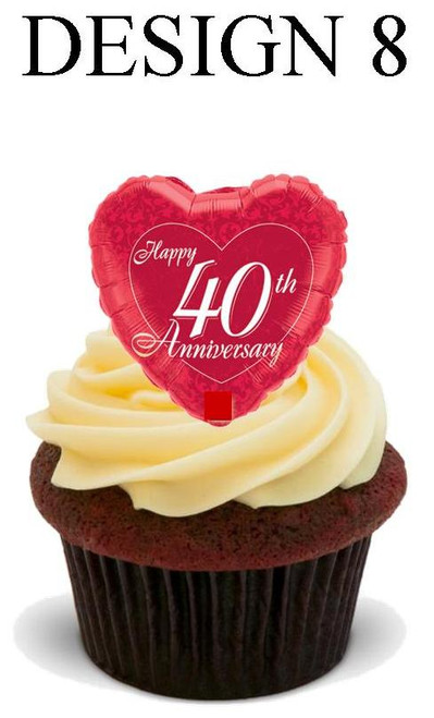 40th anniversary Design 8 -  12 Edible Stand Up Premium Wafer Card Cake Toppers Decorations