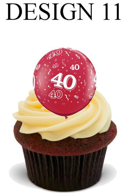 40th anniversary Design 11 -  12 Edible Stand Up Premium Wafer Card Cake Toppers Decorations
