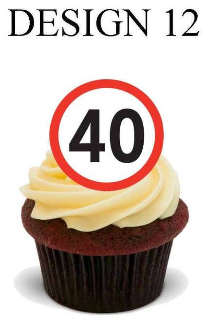 40th anniversary Design 12 -  12 Edible Stand Up Premium Wafer Card Cake Toppers Decorations