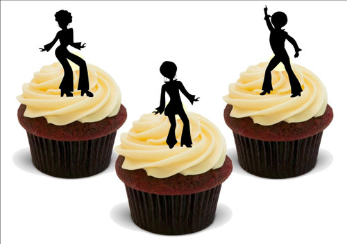 70s dancer silhouette mix -  12 Edible Stand Up Premium Wafer Card Cake Toppers Decorations