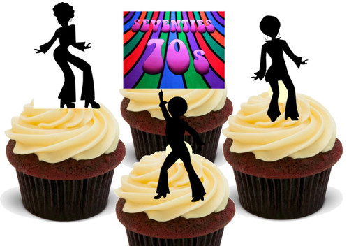 70s Party Mix A 36 Pack -  12 Edible Stand Up Premium Wafer Card Cake Toppers Decorations