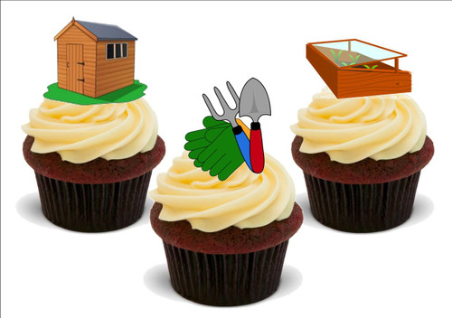 Allotment shed potting mix A -  12 Edible Stand Up Premium Wafer Card Cake Toppers Decorations