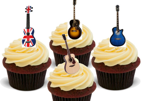 Acoustic Guitar Mix 36 Pack -  12 Edible Stand Up Premium Wafer Card Cake Toppers Decorations