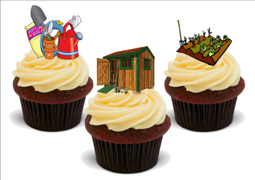Allotment shed potting mix B -  12 Edible Stand Up Premium Wafer Card Cake Toppers Decorations