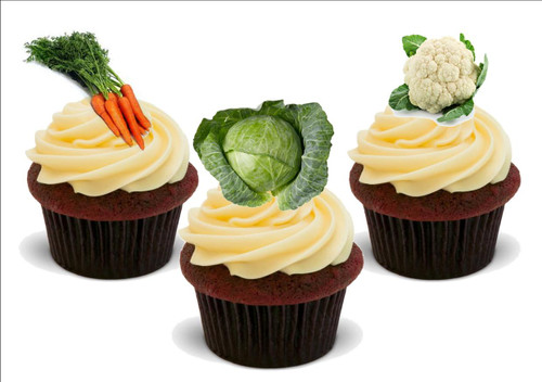 Allotment veg mix carrots cauli cabbage -  12 Edible Stand Up Premium Wafer Card Cake Toppers Decorations