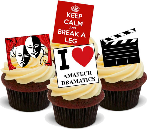 Amateur Dramatics Mix -  12 Edible Stand Up Premium Wafer Card Cake Toppers Decorations