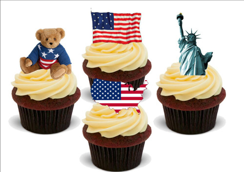 America american fun mix -  12 Edible Stand Up Premium Wafer Card Cake Toppers Decorations