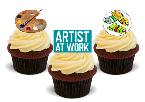 Artist at work mix -  12 Edible Stand Up Premium Wafer Card Cake Toppers Decorations
