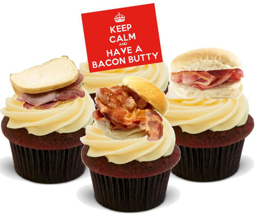 Bacon Butty Mix -  12 Edible Stand Up Premium Wafer Card Cake Toppers Decorations