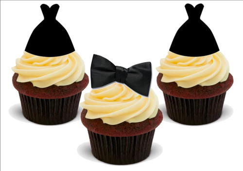 Black bow ties prom dress mix -  12 Edible Stand Up Premium Wafer Card Cake Toppers Decorations