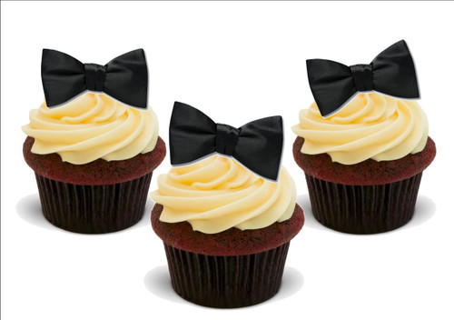 Black Bow Ties -  12 Edible Stand Up Premium Wafer Card Cake Toppers Decorations