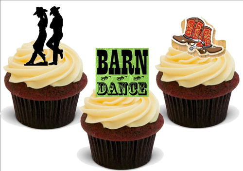 Barn Dance Mix A -  12 Edible Stand Up Premium Wafer Card Cake Toppers Decorations