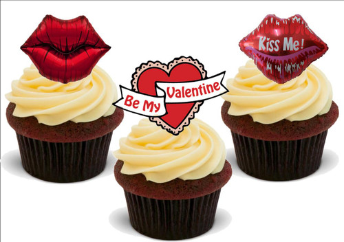 Be My Valentine Mix A -  12 Edible Stand Up Premium Wafer Card Cake Toppers Decorations