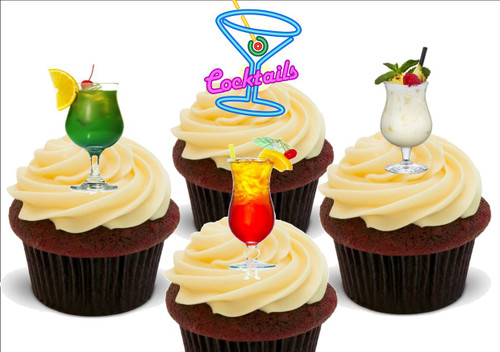 Cocktails Neon Mix A -  12 Edible Stand Up Premium Wafer Card Cake Toppers Decorations