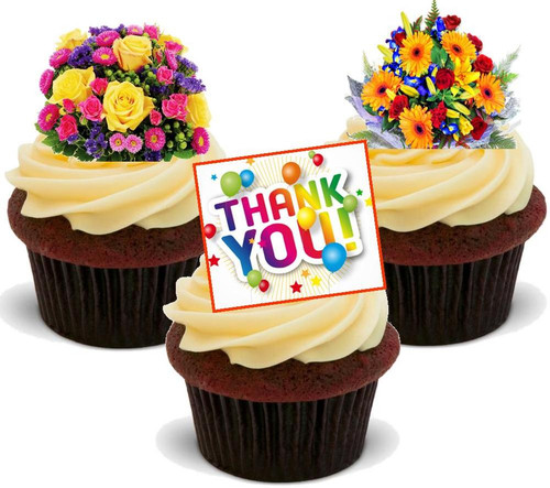 Bright Bouquet Mix Thank You -  12 Edible Stand Up Premium Wafer Card Cake Toppers Decorations