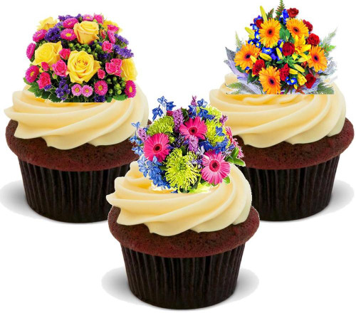 Bright Bouquet Mix -  12 Edible Stand Up Premium Wafer Card Cake Toppers Decorations
