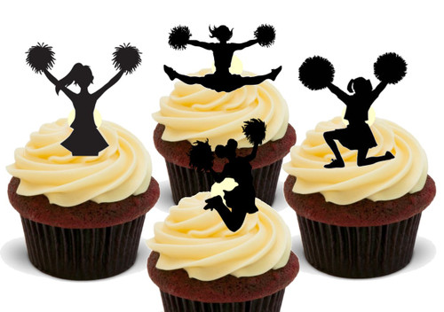 Cheerleader Black Silhouette Mix -  12 Edible Stand Up Premium Wafer Card Cake Toppers Decorations