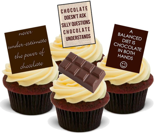 Chocolate Quotes Mix A -  12 Edible Stand Up Premium Wafer Card Cake Toppers Decorations