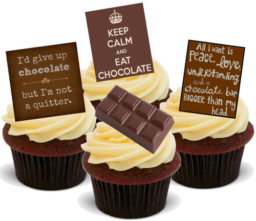 Chocolate Quotes Mix B -  12 Edible Stand Up Premium Wafer Card Cake Toppers Decorations