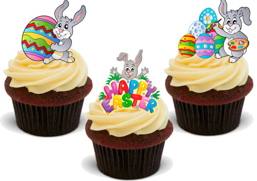 Easter Bunny Trio Mix -  12 Edible Stand Up Premium Wafer Card Cake Toppers Decorations
