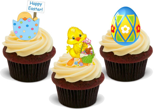 Easter Chick Egg Mix A -  12 Edible Stand Up Premium Wafer Card Cake Toppers Decorations