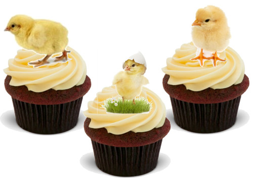 Easter Chick Real Mix -  12 Edible Stand Up Premium Wafer Card Cake Toppers Decorations