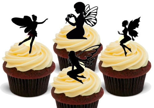Fairy Silhouette Mix -  12 Edible Stand Up Premium Wafer Card Cake Toppers Decorations