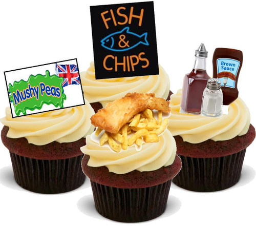 Fish & Chip Mix -  12 Edible Stand Up Premium Wafer Card Cake Toppers Decorations