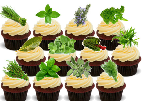 Fresh Herbs Mix 12 Pack -  12 Edible Stand Up Premium Wafer Card Cake Toppers Decorations