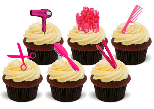 Hairdressing Party Pack Pink Mix -  12 Edible Stand Up Premium Wafer Card Cake Toppers Decorations