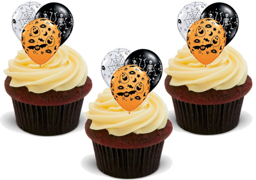 Halloween Balloon Trio -  12 Edible Stand Up Premium Wafer Card Cake Toppers Decorations