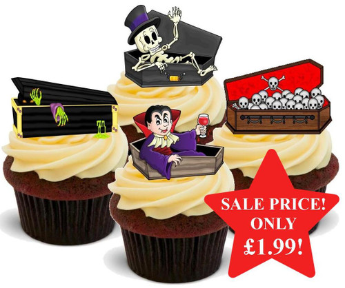 Halloween Coffin Mix -  12 Edible Stand Up Premium Wafer Card Cake Toppers Decorations